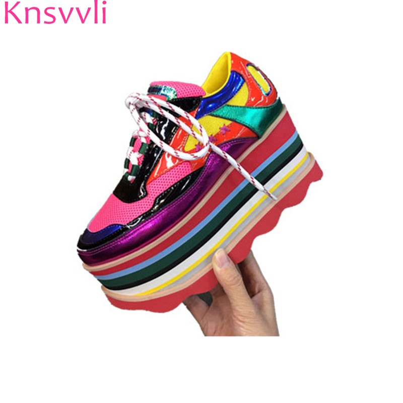 Knsvvli 2019 nouvelles couleurs mixtes chaussures à plate-forme femmes en cuir véritable maille hauteur augmentant décontracté couleur arc-en-ciel espadrille femme