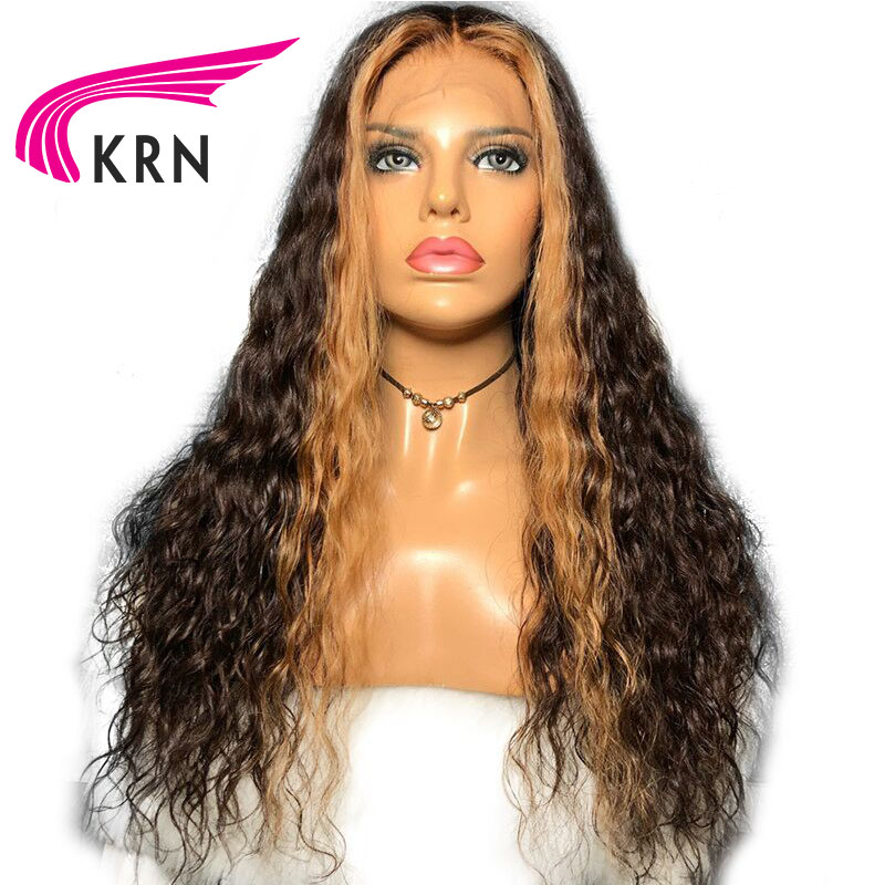 KRN Remy Brazilian curly Lace Front Human Hair Wigs 13x6 Deep parts 150Density PrePlucked highlights Honey