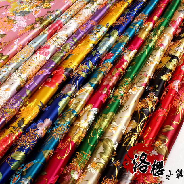 Costume hanfu formal dress baby clothes kimono advanced cos clothes woven damask jacquard brocade fabric gold peony series