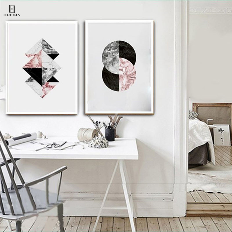Abstract Geometry Decorative Canvas Posters Of Two Intersecting Abstract Circle draw by Abstract Colors And Lines For Home Decor