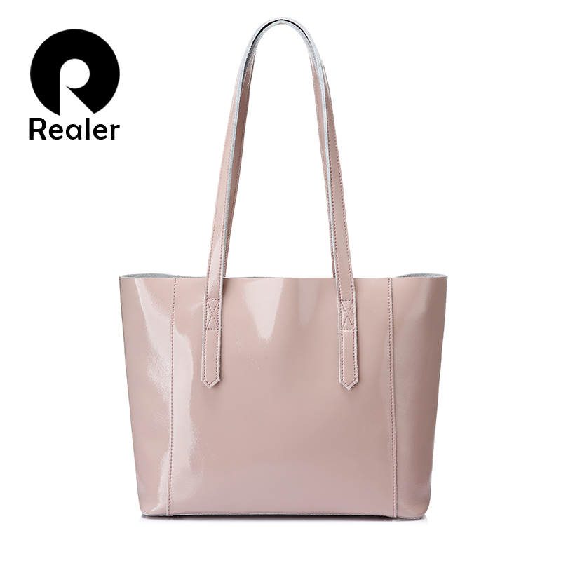 REALER shoulder bag women soft patent leather tote bag female large crossbody messenger bags scratch resistant design handbag