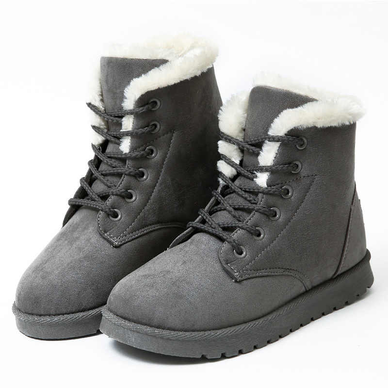 Kadın kar botları düz dantel Up artı boyutu 42 43 kadın sıcak ayakkabı kadın yeni akın kürk peluş ayak bileği çizmeler kadın ayakkabıları kış WSH3132