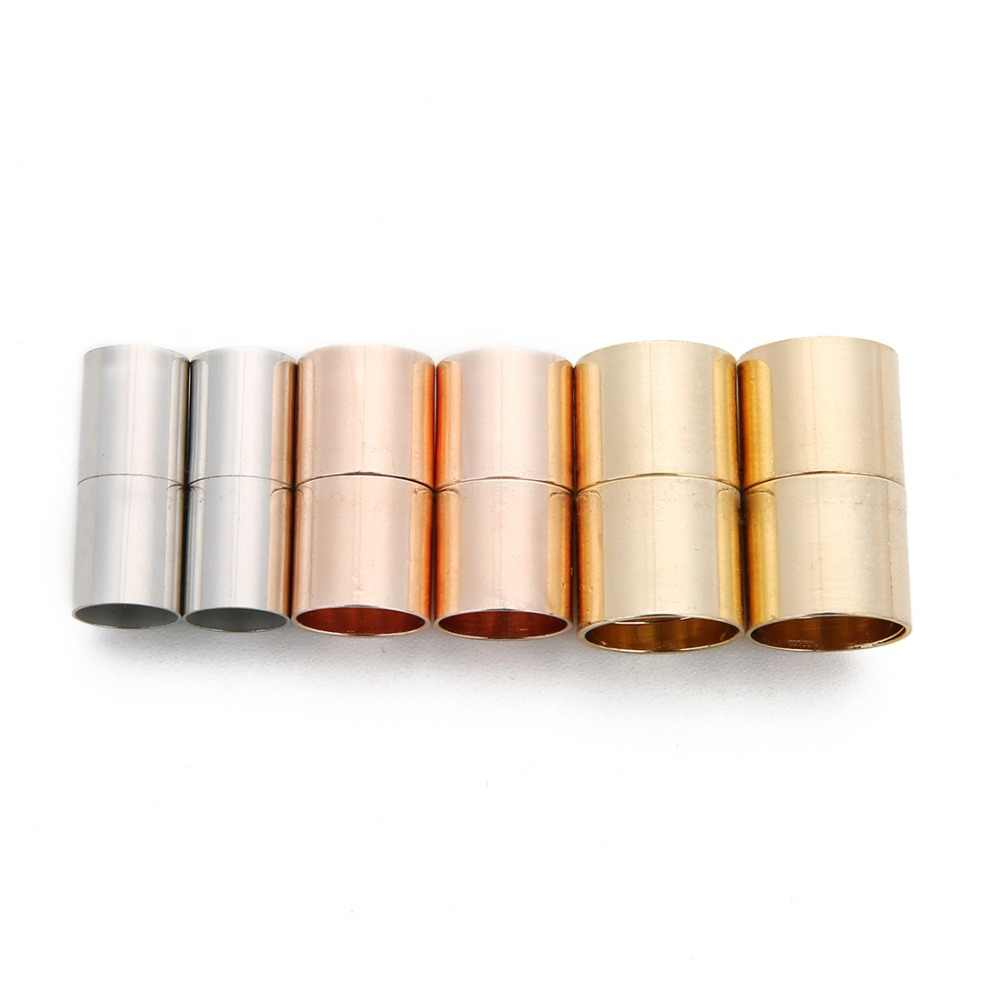 10pcs Round Magnetic Clasps 8mm Rose Gold for Bracelet Making Over Brass