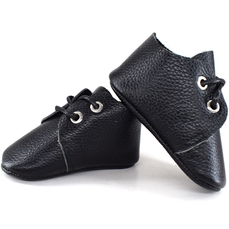 2019 New Genuine Leather Baby Moccasins Shoes Solid Lace Up Baby Shoes Newborn First Walker Infant Shoes Baby Schoenen