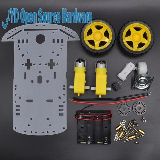1 satz Neue Motor Intelligente Roboter Auto Chassis Elektronische Herstellung DIY Kit Drehzahlgeber Battery Box 2WD Für Roboter