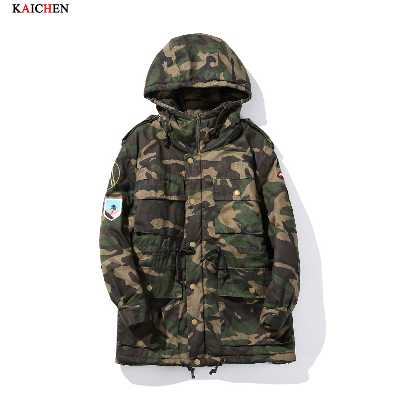 ФОТО 2016 winter fashion man high-end European American style design warm Cotton liner coat Camouflage long paragraph large size 5XL