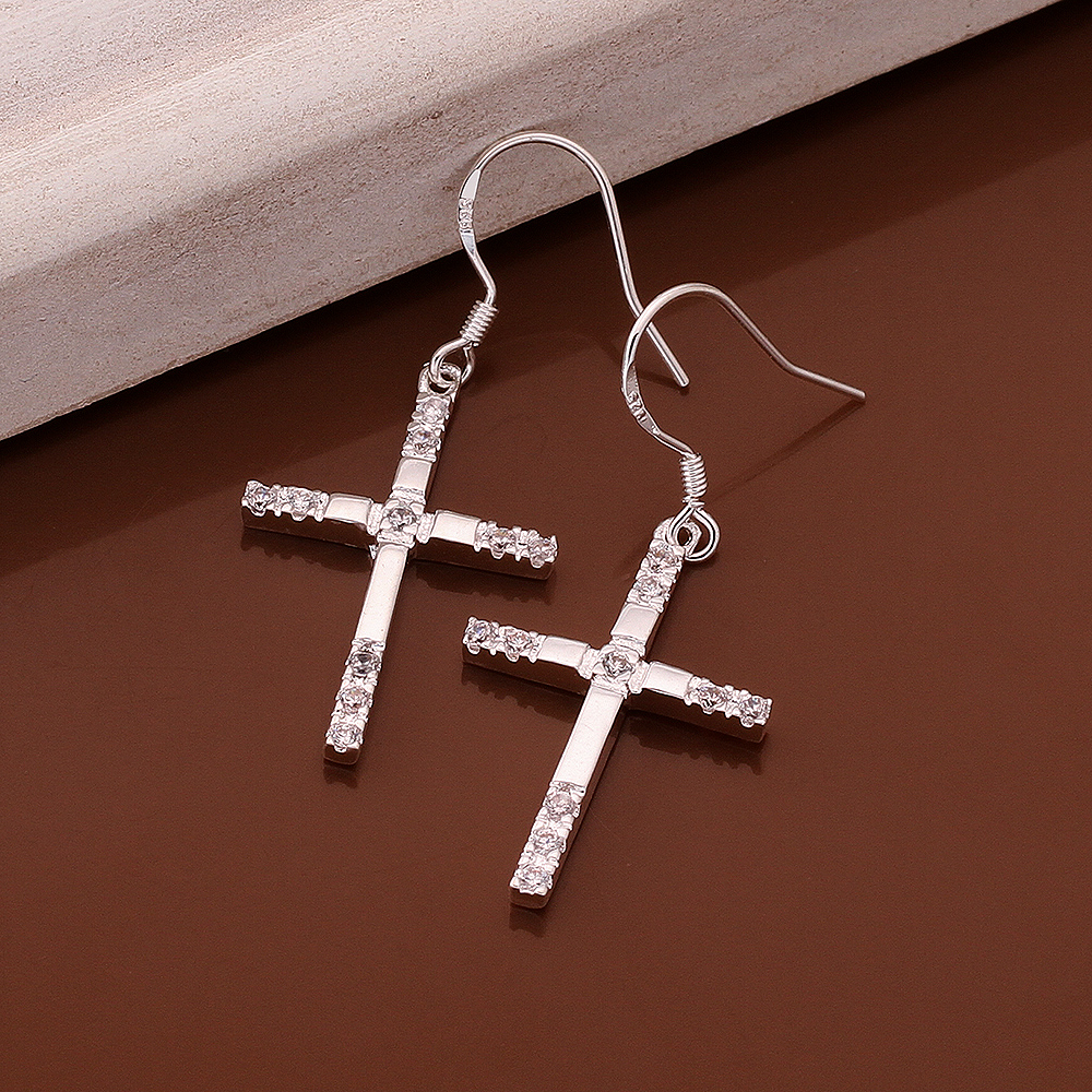 Cross Drop earrings 925 sterling solid Pure silver e518 gift box Free Fashion New Jewelry accessary