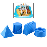 New Fantasty Portable 4pcs Castle Sand Toys Pyramid Sandcastle Beach Sand Toy Blue Make Children Happy