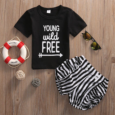2017 New 2Pcs Cute Toddler Baby Girls Kids  T-shirt Tops+Stripe Shorts Outfits Kids Baby  Clothes Set US 2pcs kids toddler baby girls denim ruffle loose t shirt tops striped shorts 2017 summer newborn baby girl clothes outfits set