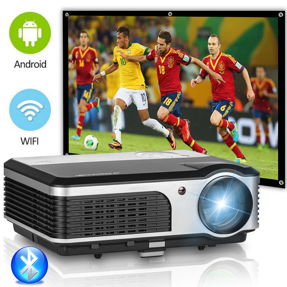 CAIWEI Android WIFI LCD HA CONDOTTO il Proiettore Home Theater Cinema Bluetooth Proiettore di Sostegno 1080 p Video Proiezione Beamer TV PC HDMI
