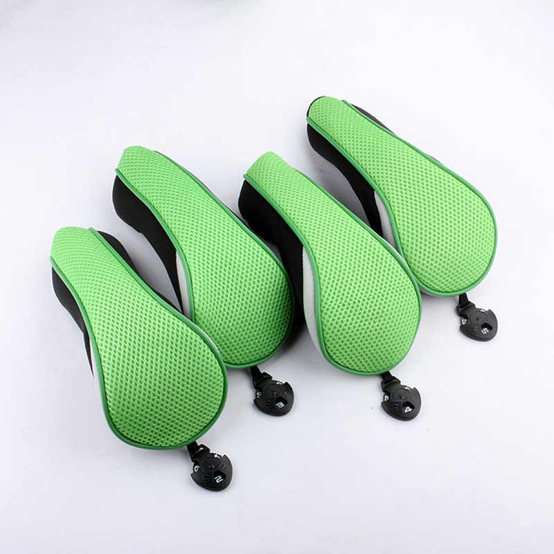 NEW 4Pcs Green Golf Hybrid Club Head Covers Headcover UT Utility Rescue Headcover Interchangeable No. Tag
