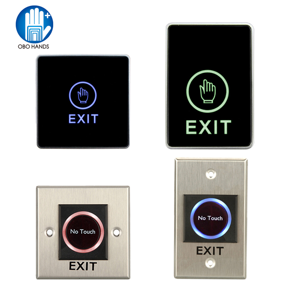 Infrared Contactless No Touch Door Exit Button Touch Release Push Switch With Backlight For Access Control Electric Lock System