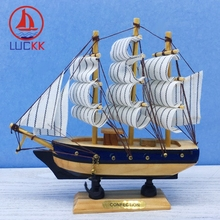 LUCKK 16CM Mediterrean Handmade Retro Wooden Model Ships Nautical Home Interior Decoration Room Wood Sailboat Crafts Figurine