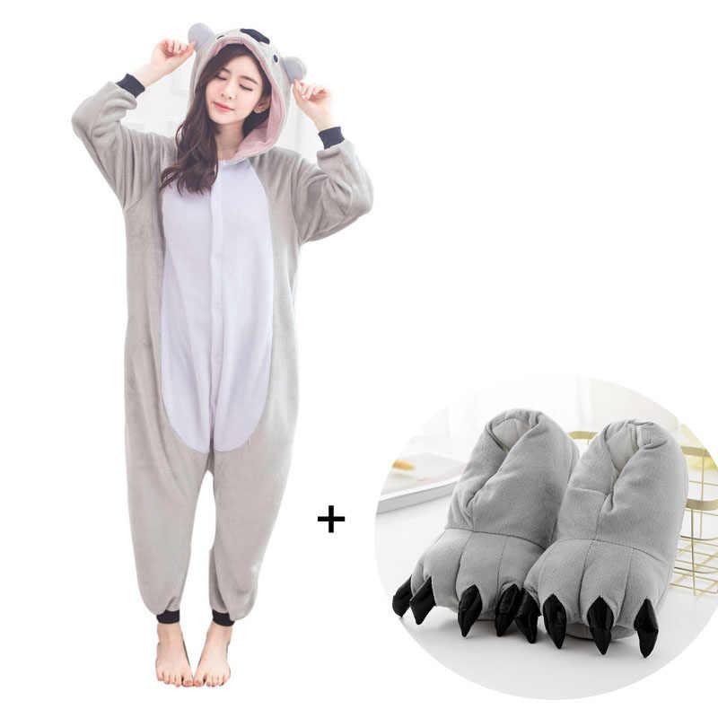Забавная коала Фланелевая пижама цельная Пижама коалы кигуруми животных  пижамы для взрослых женщин для Хэллоуина Косплей cee1ae7e2fefd
