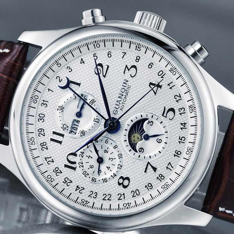 GUANQIN Automatic Mechanical Men Watches Top Brand Luxury Waterproof date Calendar Moon Leather Wristwatch Relogio Masculino A