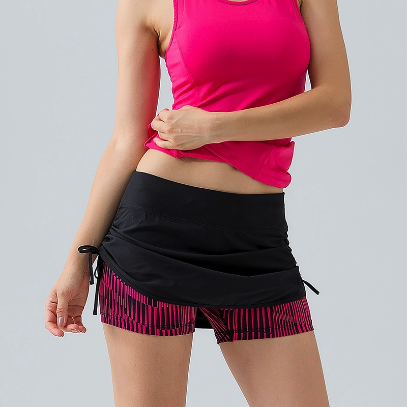 U Women's 2 in 1 Run Shorts Side Drawstring Zipper Pocket Tennis Skorts Фитнес Йога Сыртқы Спорт