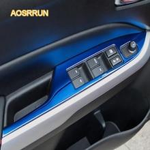 AOSRRUN panel de vidrio interruptor de elevación de acero Inoxidable con pasamanos accesorios Cubierta Del Coche Para Suzuki vitara 2016 2017