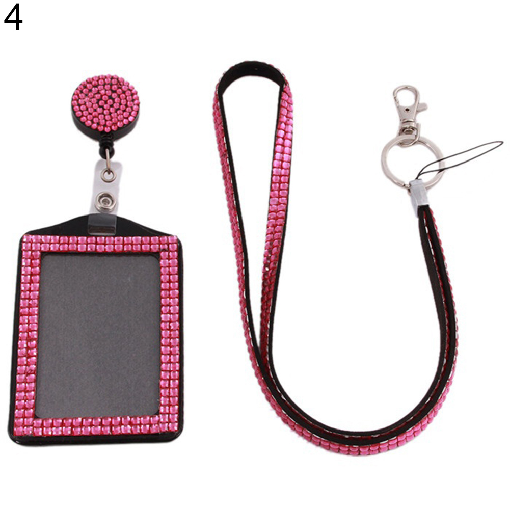 Retractable ID Badge Neck Lanyard Rhinestone Case Name Tag Card Holder Cover