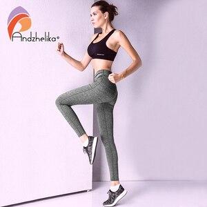 Image 4 - Andzhelikaヨガパンツ2018新しい女性通気性ランニングパンツ弾性スポーツレギンスフィットネスジョギングヨガレギンスワークアウトパンツ