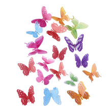 Modern Creative Product 18Pcs Glowing 3D Simulation Butterfly Sticker Home Decoration PVC Art Wall Decal Mural
