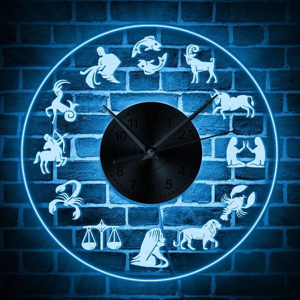 Led Sign Home Decor: Zodiac Sign LED Light Wall Art Home Decor Wall Clock With