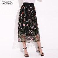 ZANZEA Women Fashion Summer Bohemian Midi Skirt Elegant Black Floral Embroidered Mesh Overlay A Line Ladies