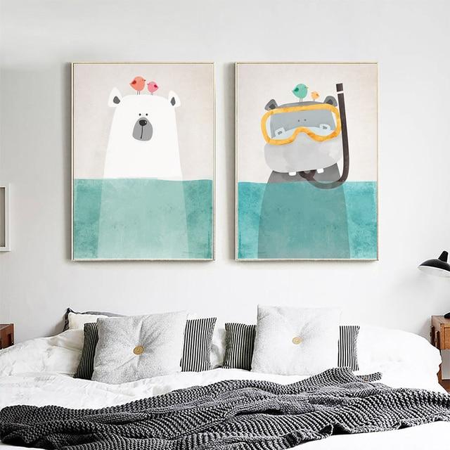 Cartoon Animal Canvas Painting Nordic Polar Bear Penguin Wall Art