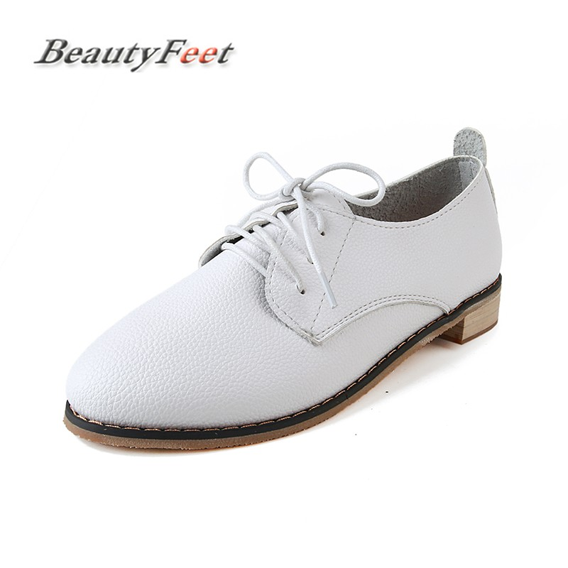 BeautyFeet Women Shoes New Spring Autumn PU Leather Casual Shoes Woman Round Toe Fashion Women Shoes Lace-up Flat Shoes Sapatos front lace up casual ankle boots autumn vintage brown new booties flat genuine leather suede shoes round toe fall female fashion