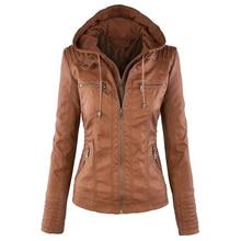 Desigenr Women Motorcycle Leather Hooded Jacket European Style Wholesale Winter Female Bape Biker Leather Jackets Cheap S2332