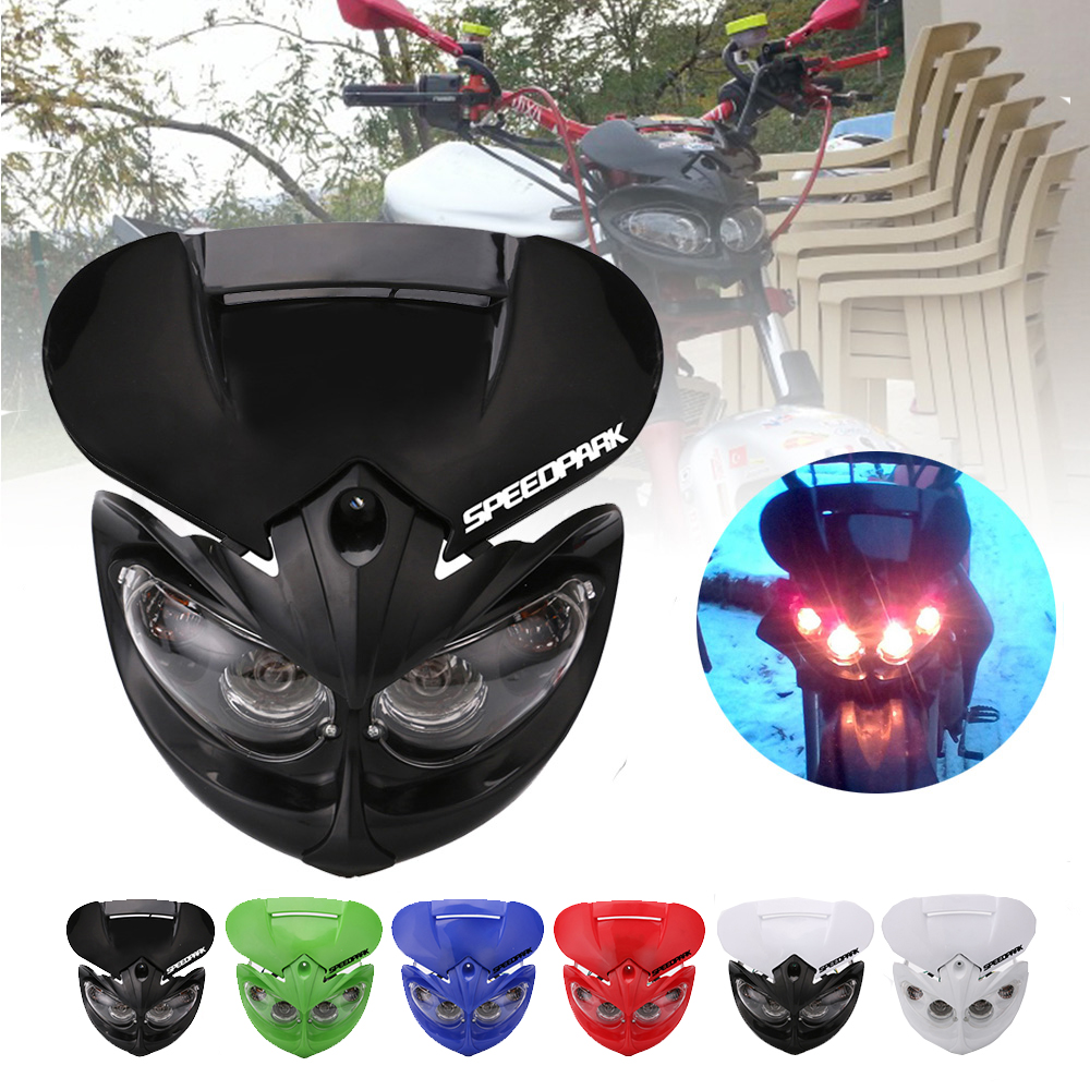 SPEEDPARK Universal 12V 18W Motorcycle Headlight Fairing Head Lamp High Low Beam Dual for F-Eagle Apollo DC Applicable