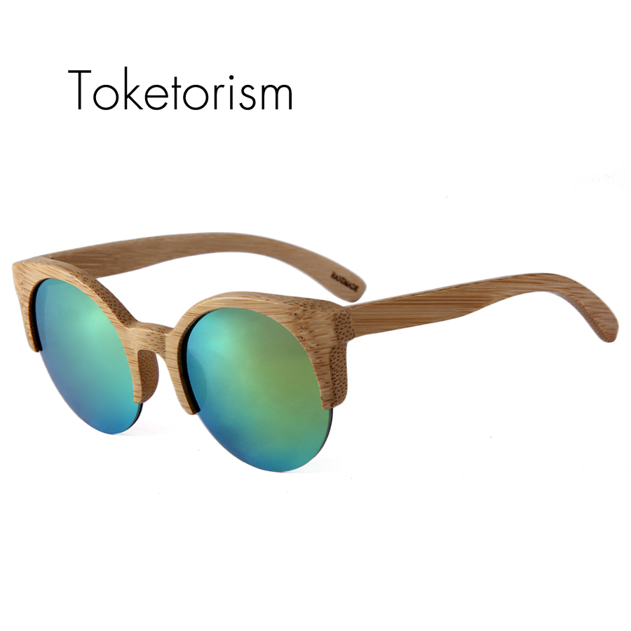 Uv400 Trendymate Halb Sonnenbrille gold brown Holz Toketorism rot Bambus Grün 2102 Schutz Gläser Strahlung Rahmen Handgemachte YqHTwA