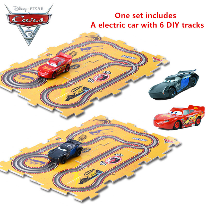 Detail Feedback Questions About Disney Pixar Cars 3 Kids Birthday Gifts Mcqueen Storm Jackson One Electric Slot Car Toy With 6pcs Diy Tracks For Children