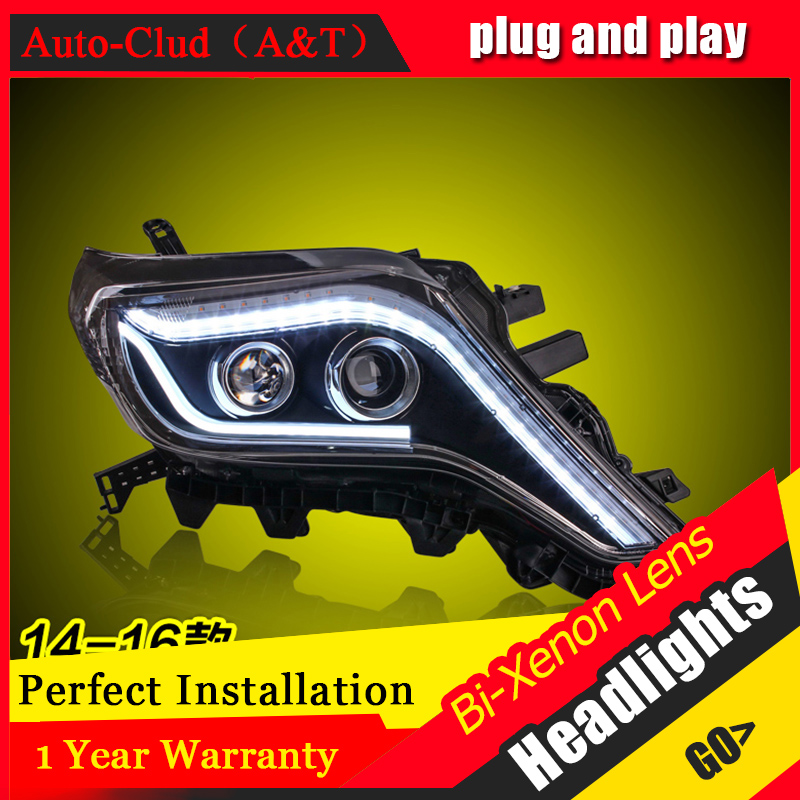 Car Styling For toyota Prado led headlights For Prado head lamp Angel eye led DRL front light Bi-Xenon Lens xenon HID KIT novsight car led headlights assembly headlamp projector drl fog light daylight for toyota prado 2004 2009