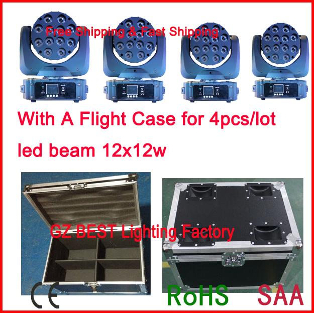 2017 new 4pcs lot with a flight case 12x12w led beam moving head 150w dmx beam