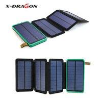 X DRAGON Solar Power Bank 10000mAh Portable 4 Solar Panel For IPhone IPad Samsung HTC LG