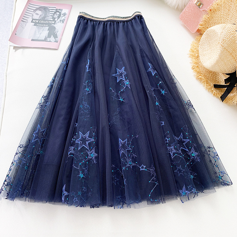 Embroidery Mesh Paillettes <font><b>Skirt</b></font> Women 2019 Summer <font><b>Ball</b></font> Gown Tulle <font><b>Skirt</b></font> 3 Layers Big Swing Starry Sky Fairy Long <font><b>Skirt</b></font> image