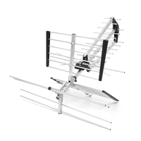 180 Mile 12 16 Gains Outdoor Strong Kit Amplified HD 1080P TV Antenna Digital UHF VHF FM Radio 174 230MHz 470 790MHz Silver 15dB