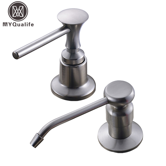 Brushed Nickel Kitchen Sink Soap Dispenser Stainless Steel Plastic