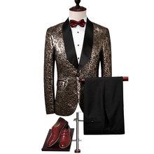 Мужской костюм с вышивкой paulkonte классический приталенный