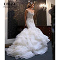 I Bay U Beading Sequins Crystals Tiered Organza Luxury Wedding Dresses Corset Blush Wedding Dress Cloud Oriental Wedding Gowns