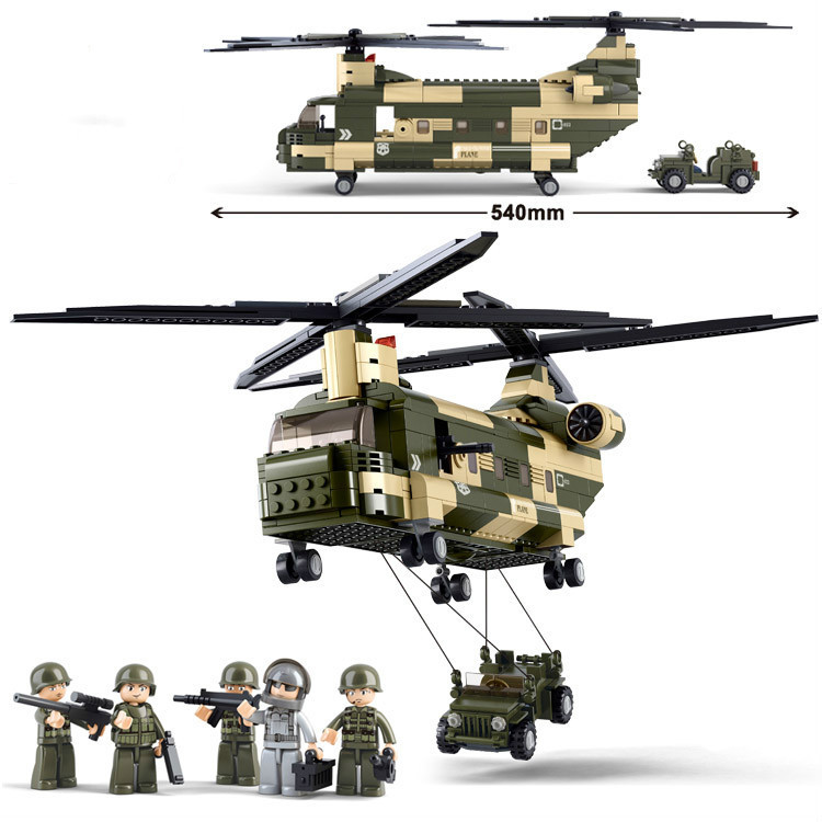 Sluban Military Transport Aircraft Freighter Helicopter Building blocks Bricks set Enlighten Toys For Children Leoge Compatible 8 in 1 military ship building blocks toys for boys