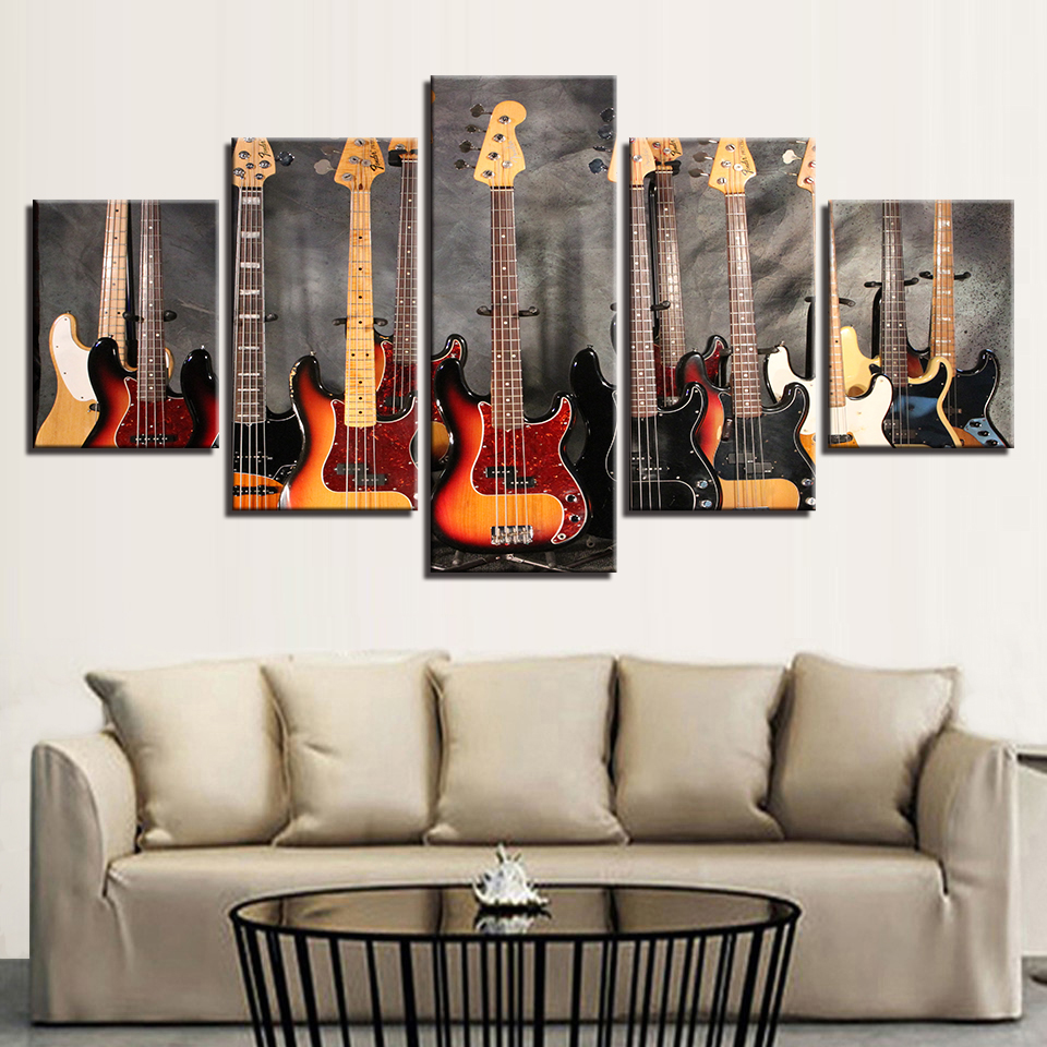 Canvas Paintings Modular Wall Art Prints Framework 5 Pieces Bass Guitar Collage Pictures Music Poster For Living Room Home Decor In Painting Calligraphy