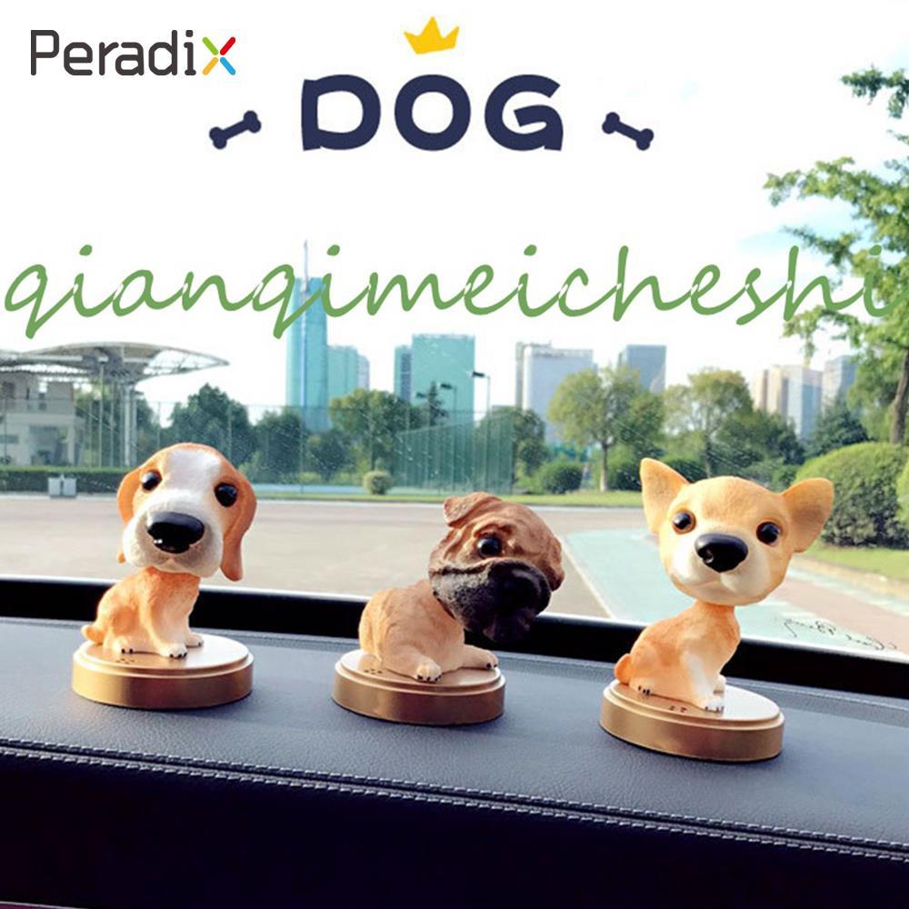 Peradix Shaking Dog Bobble Head Dogs Yellow Resin Automobile Decoration Decompression Home