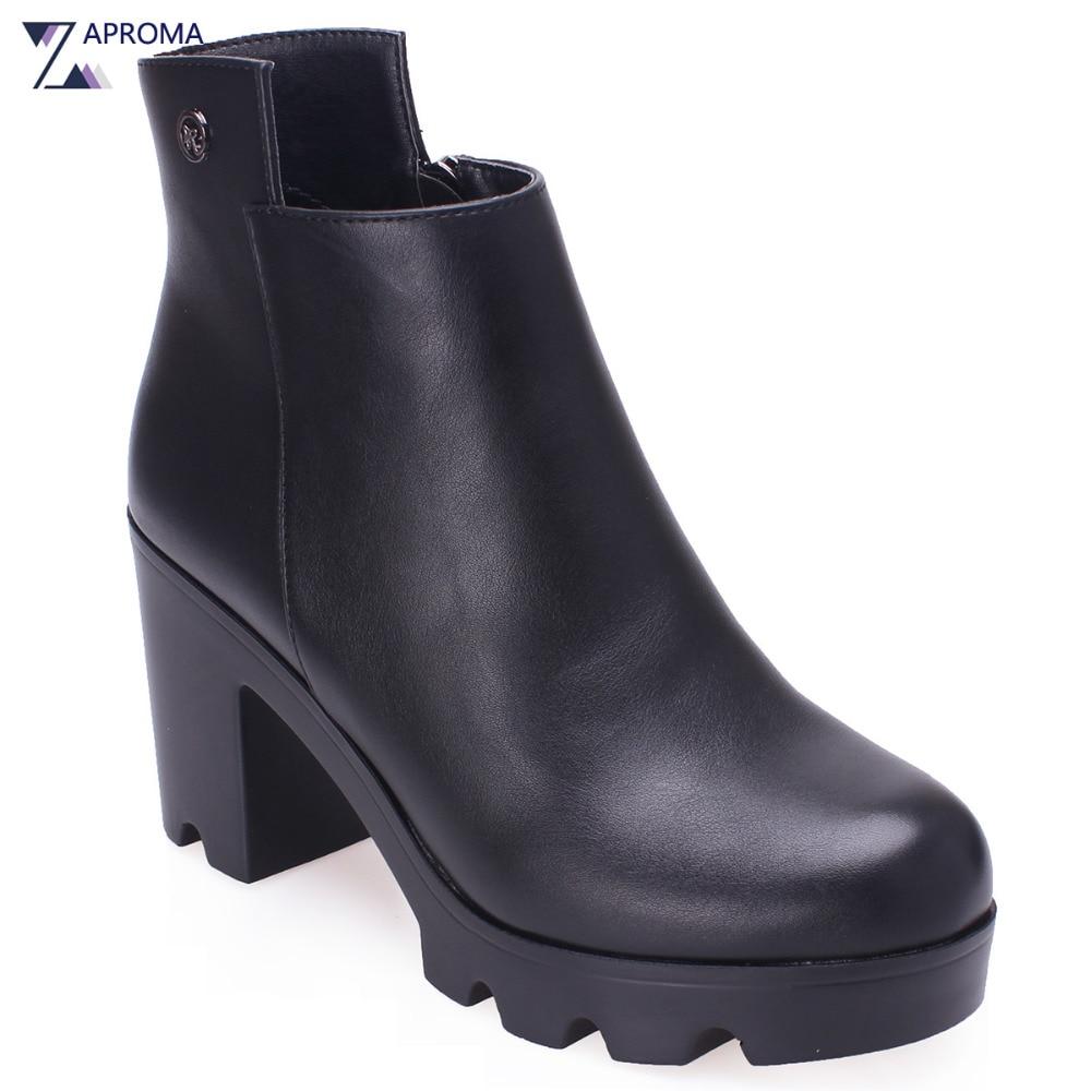Thick Heel Ankle Boots 2018 Fashion Women Platform Short Plush Spring Winter Metal Decoration PU Formal Shoes Grey Wine Red Tan цена