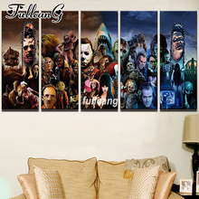 FULLCANG Diy 5PCS Full Square Diamond Embroidery Horror Movie 5D Painting Cross Stitch Mosaic Needlework kits Sale D907