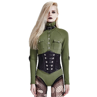 Punk Army Retro Buttons Jumpsuits PU Leather Combat T Shirt Gothic Long Sleeve Green Causal Jumpsuits