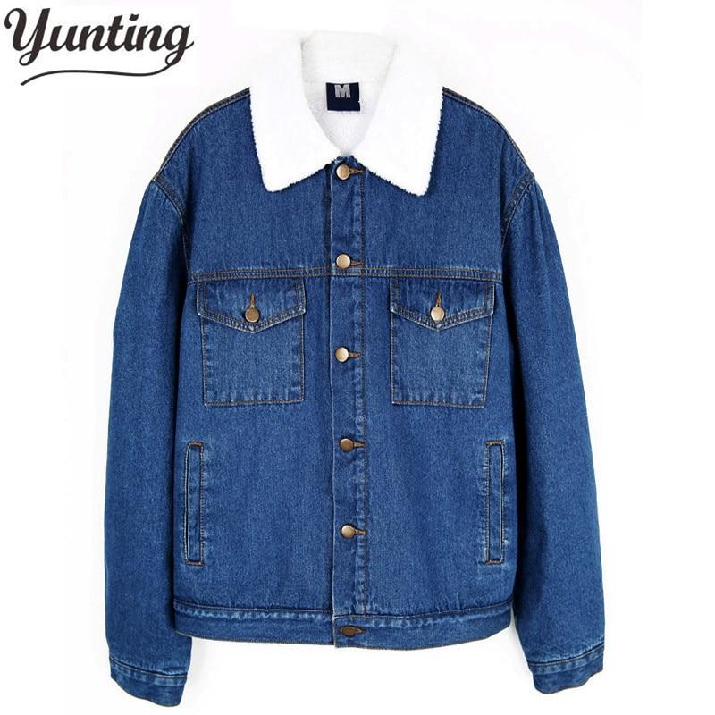 купить 2018 winter women ladies fleece warm denim jacket Boyfriend Jean vintage Coat Outwear white fur coat parka size S-XL дешево