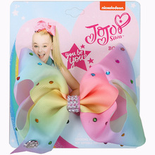 Jojo Siwa Bow Grosgrain Ribbon Boutique Hair Bows Bling Sparkly Rhinestones Rainbow Clips For Baby Girls Teens Toddlers Gifts