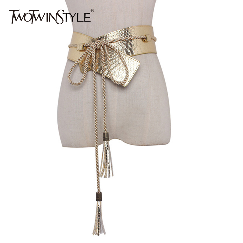 TWOTWINSTYLE PU Leather Wide Belt For Women Snakeskin Tassel Lace Up Female Belts 2019 Spring Cummerbund Fashion New