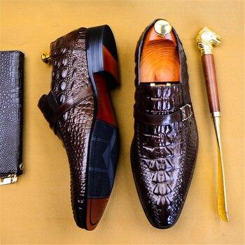 Phenkang mens formal shoes genuine leather oxford for men black dress wedding slipon brogues 2020